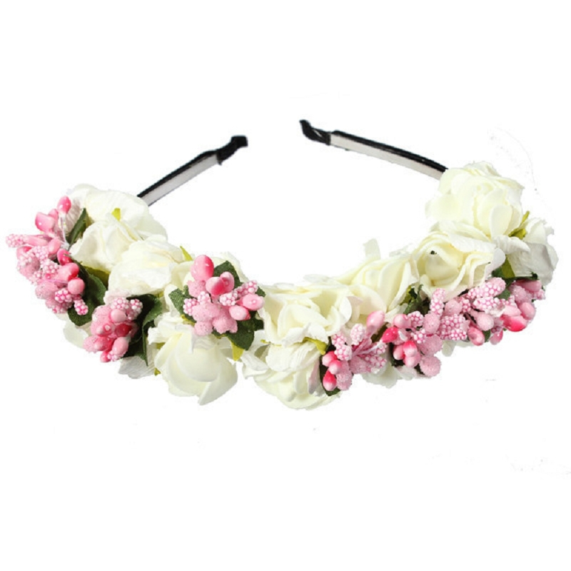 Woman Elegant Lady Flower Hairpins Garland Floral Bridal Headband Hairband Wedding Prom casamento Hair Accessories#61069(China (Mainland))