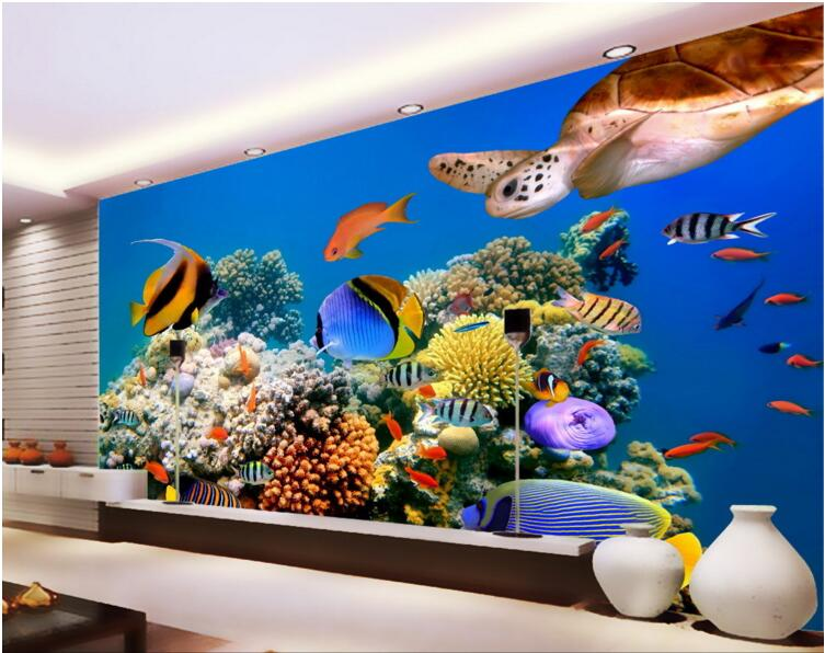 Popular turtle fish buy cheap turtle fish lots from china for Aquarium mural wallpaper