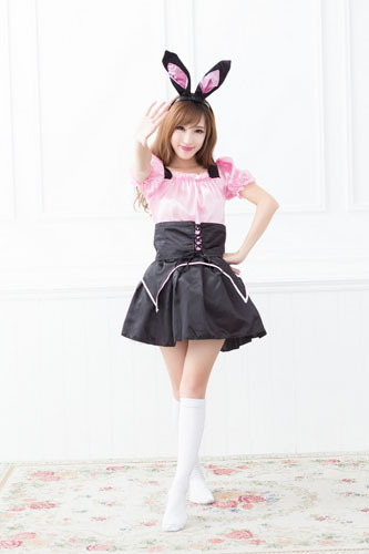 Free Shipping Sexy Easter Sexy Bunny Adult Women Pink Bunny Bodysuit Halloween Costume Dress And Headwear For Sexy Women QP-715(China (Mainland))