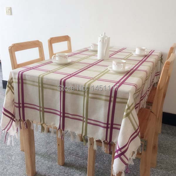 Simple and stylish plaid beautiful striped nature series table cloth tablecloth Cotton & Linen table cover zakka wholesale(China (Mainland))