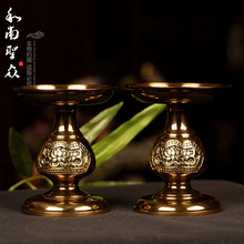 Lamp buddha light bronze color lucky butter lamp pure copper (A pair) candelabra home decoration(China (Mainland))