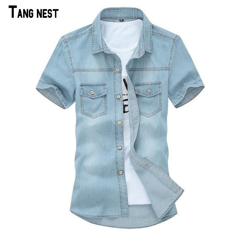 TANGNEST 2017 Hot Sale Men's Solid Short-sleeved Shirt Male Casual Comfortable Korean Style Turn-down Collar Denim Shirts MCS102(China (Mainland))