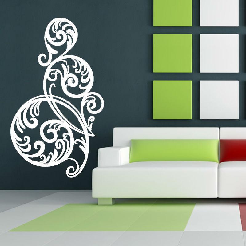 White Circular Swirl Flower Wall Sticker Living Room Vinyl Art Home Decor Wall Mural Decal Design