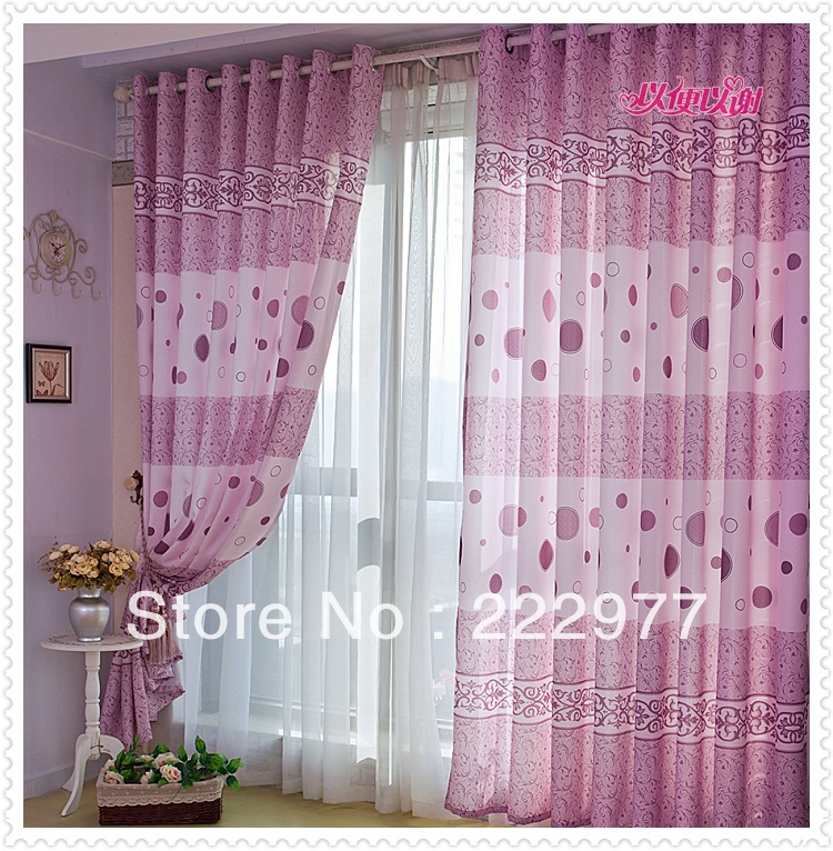 Free Shipping Hot Sale Purple Curtain Beautiful Design Living Room Curtains Incurtains