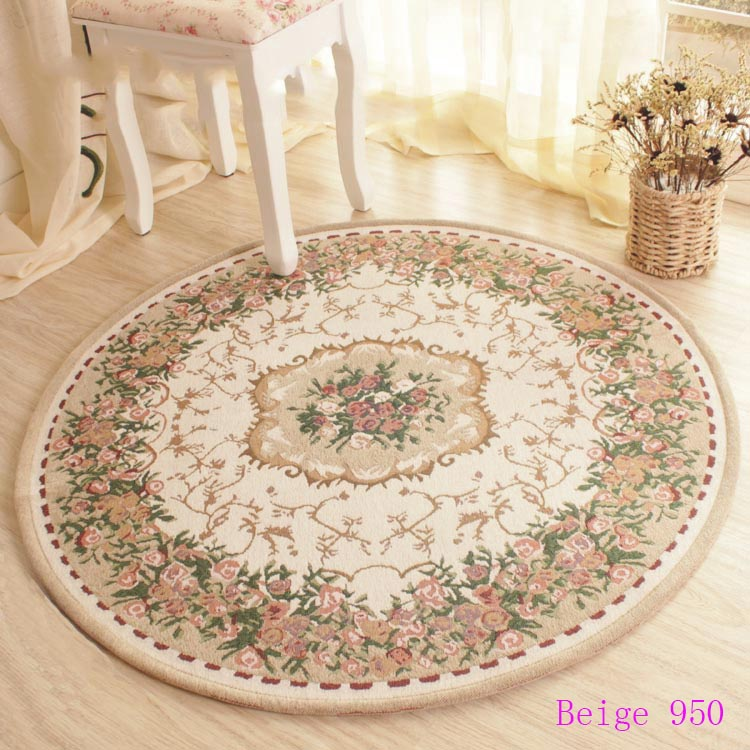 european style garden flowers jacquard carpet round mats