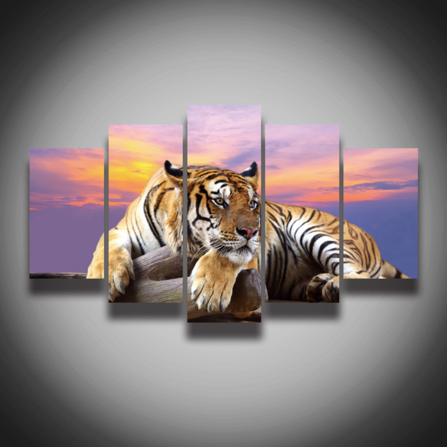 2017 Top Fashion Painting No Framed Tiger Animal Painting On Canvas 5 Panels Wall Art Home Decoration Print Pictures(China (Mainland))