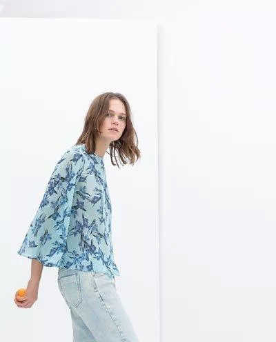 freeshipping The new summer 2015 European and American wind street snap hummingbird printed shirt blue(China (Mainland))