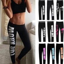 Buy Women Fitness Workout Leggings Elastic Comfortable Stretch Pants Letter Print Slim Legging Cheaper Better Fitness leggins Yo-ga for $3.77 in AliExpress store