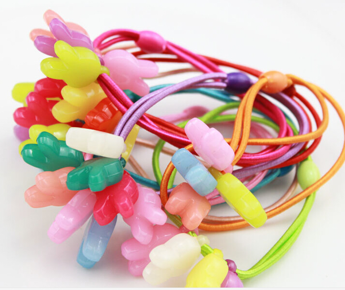 6 pieces Children love hair rope baby baby Tiara hair ornaments stars bear rabbit hair elastic string(China (Mainland))