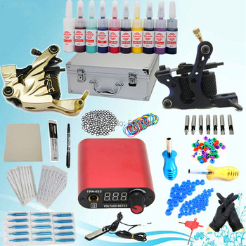 USA Dispatch Complete Pro Starter Tattoo Kit 2 Machines Guns 10 Inks LCD Power Needles Equipment set supply K003 Supplies