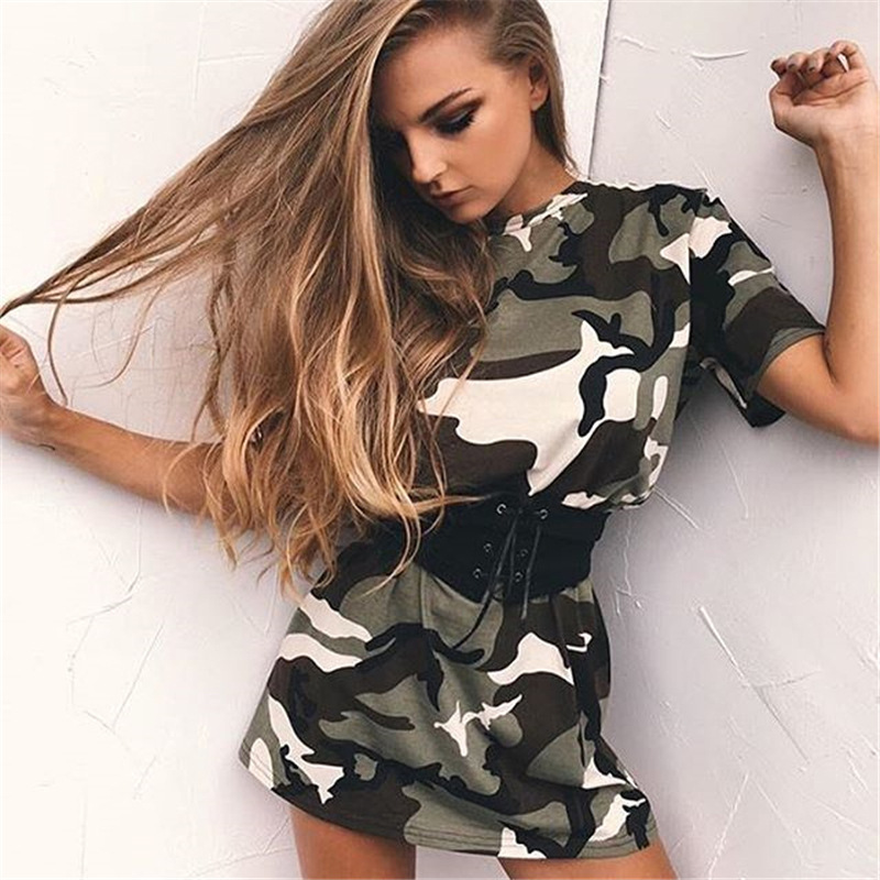 2017 summer new European and American wind casual dress camouflage dress dress ladies dress(China (Mainland))