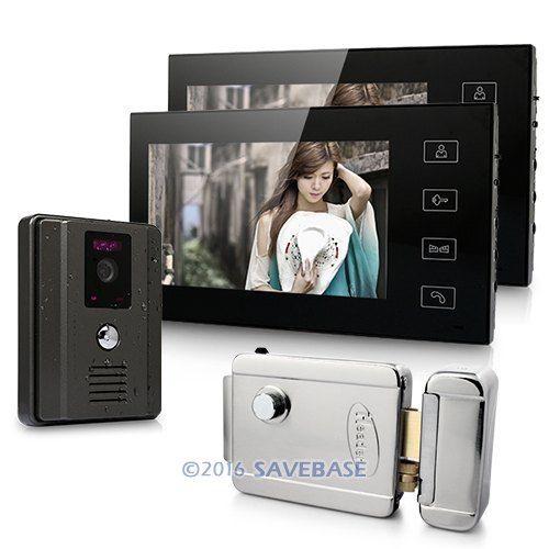 "New Wired Video Intercom System 1x 700TVL Camera + 2x 7"" Color Monitors + E-lock(China (Mainland))"