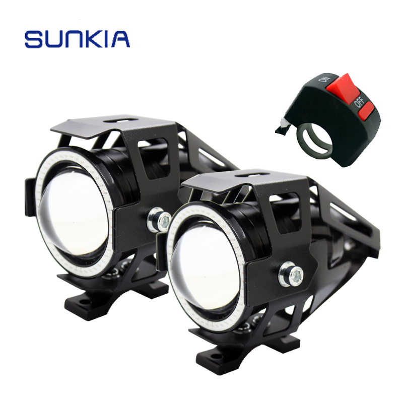 2pcs with Switch High Power U7 125w Motorcycle Projector Headlight 3000LM Motorbike Head Fog Lamp Angle Eyes + Devil Eyes(China (Mainland))
