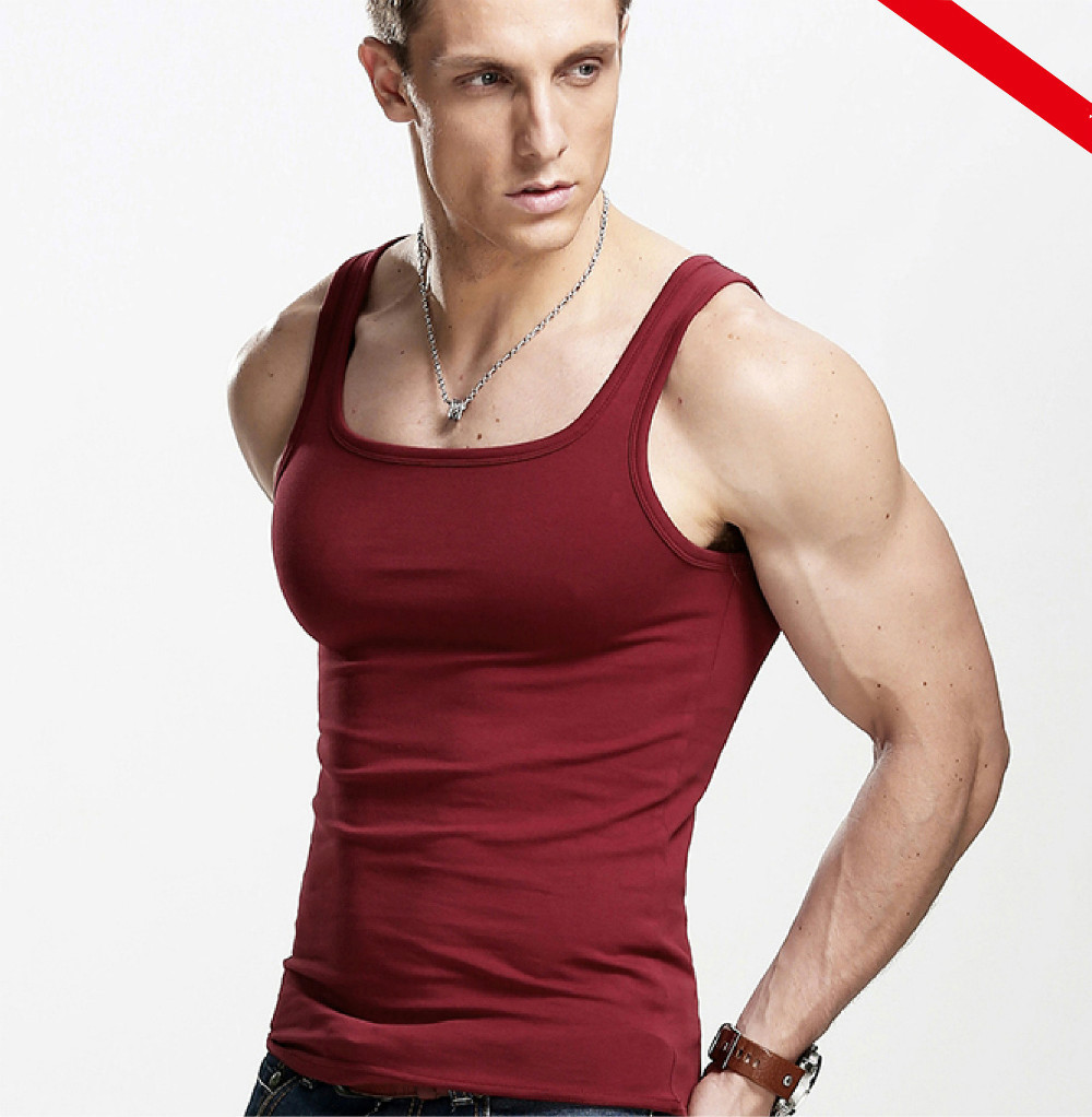 New 2015 fashion cotton gymshark sleeveless shirts tank Fitness shirts for men
