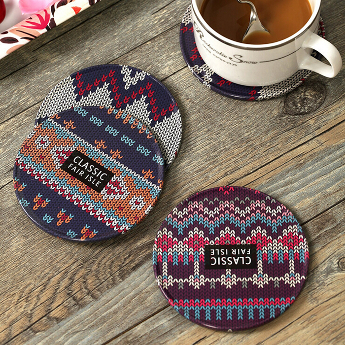 8.2CM tinplate cork coffee creative coaster cup mat pad 3 pieces set with gift packaging(China (Mainland))