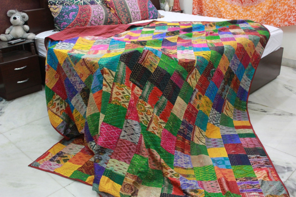 Indian Patola Silk Patchwork Quilt, Kantha Rallies, Bohemian Reversible Bedsheet (KING Size, 100% Premium Quality) Home Decor.