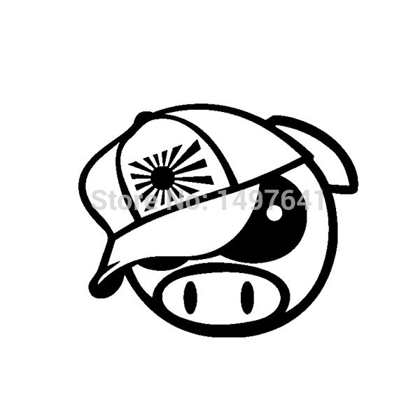 JDM Angry Rally Pig With Japan Hat Vinyl Decals Drift Auto SUV Truck Bumper Computer Laptop Funny Car Window Sticker 8 Colors(China (Mainland))