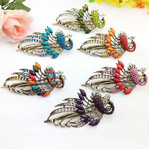 Women's Retro Style Peacock Hairpin Rhinestone Hair Clip Alloy Hair Accessary AK5E(China (Mainland))