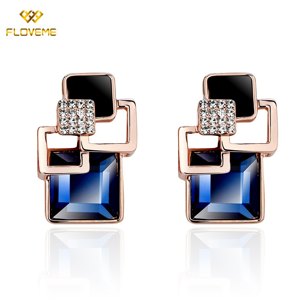 2015 FLM Vintage Jewelry Exquisite 18K Gold Plated Blue Crystal Square Stud Earrings Women Lady Girl - GT-Watch Store store