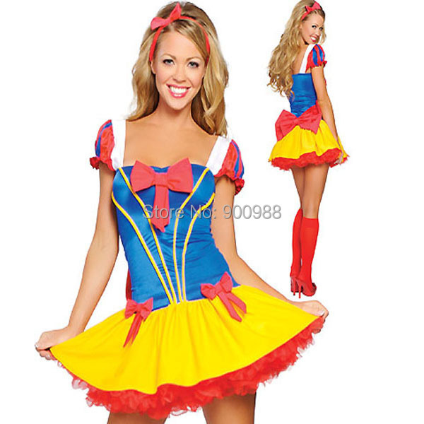 Halloween Fairy Tale Princess Costume Sexy Deluxe Snow White Costume Fancy Dress(China (Mainland))