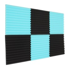 6Pcs/Lot 30 * 30 * 2.5cm Blue/Black Acoustic Wedge Soundproofing Studio Foam Tiles Using polyurethane foam material Good Price(China (Mainland))