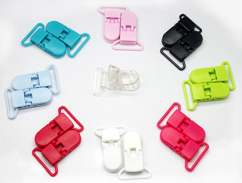 15 Colors 200pcs KAM Plastic suspender Clip Plastic Pacifier Clip Transparent Soother Clip For Baby Dummy Clip Mix Colors 25mm(China (Mainland))
