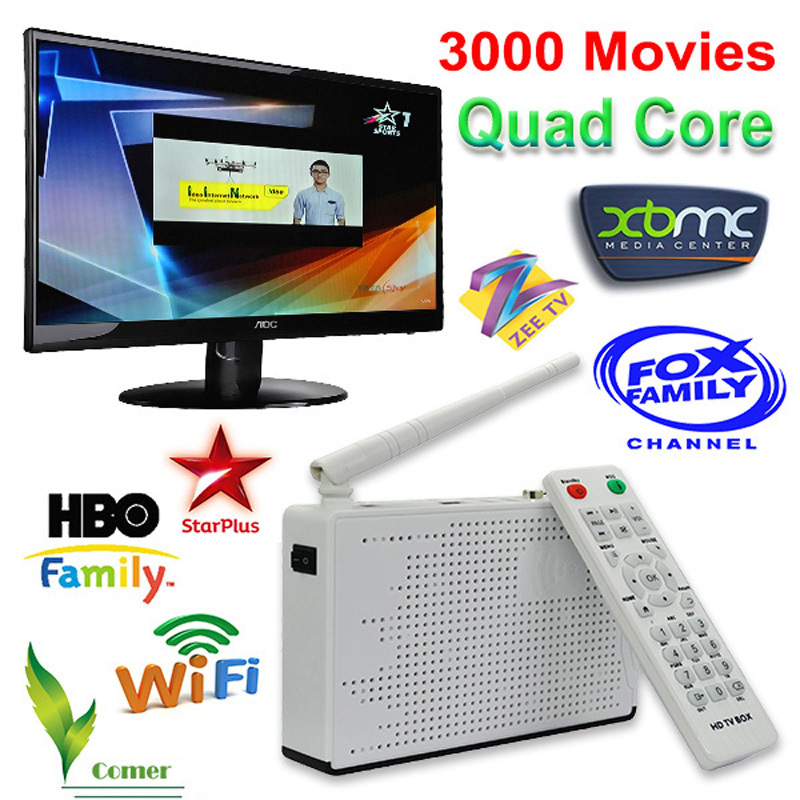 Best HD Indian IPTV Box TV receiver with 200 plus HD Inidan channels Android TV Box support WiFi antenna XBMC loaded(China (Mainland))