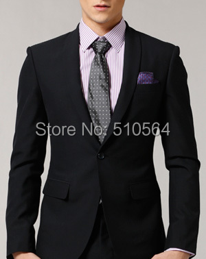 Free shipping Italian high quality worsted worsted Wool suit Men suit Event black suit one button shawl suit(China (Mainland))