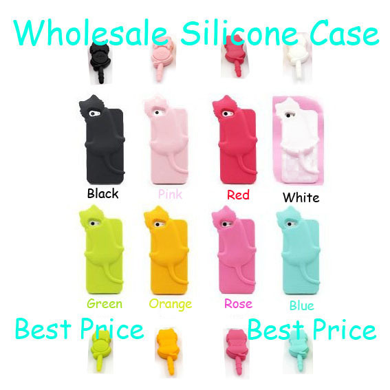Cat Style Lot 5pcs Silicone Soft cover case for iPhone 4G 4S & Iphone 5 5G + 1 Earphone dust plug Wholesales