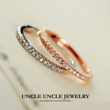 Elegant!!! 18K Rose Gold Plated 25 pcs Rhinestones Micro Inlays 1mm Thin Lady Finger Knuckle Ring Wholesale 18krgp(China (Mainland))