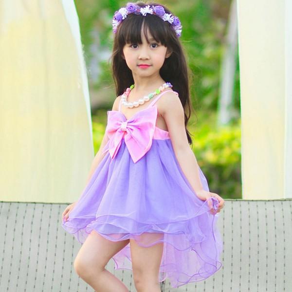 2016 2015 Baby Kids Girls Straps Big Bow Dress Organza Ruffled One Piece Formal Dress 2