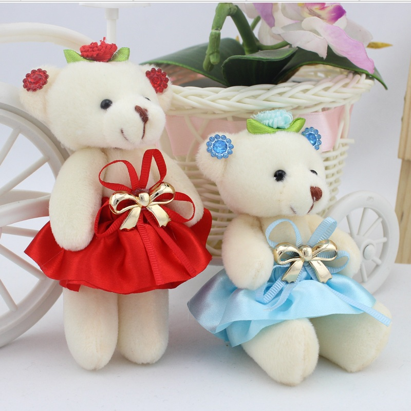 Hot sale children girls plush toys bear with dress flower bouquets material bear wholesale mini promotion gift free shipping(China (Mainland))