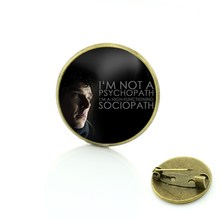 TAFREE vintage Sherlock Holmes Benedetto spilla pins antique uomini di modo delle donne dei monili di fascini I am Sherlocked distintivo spille CT07(China)