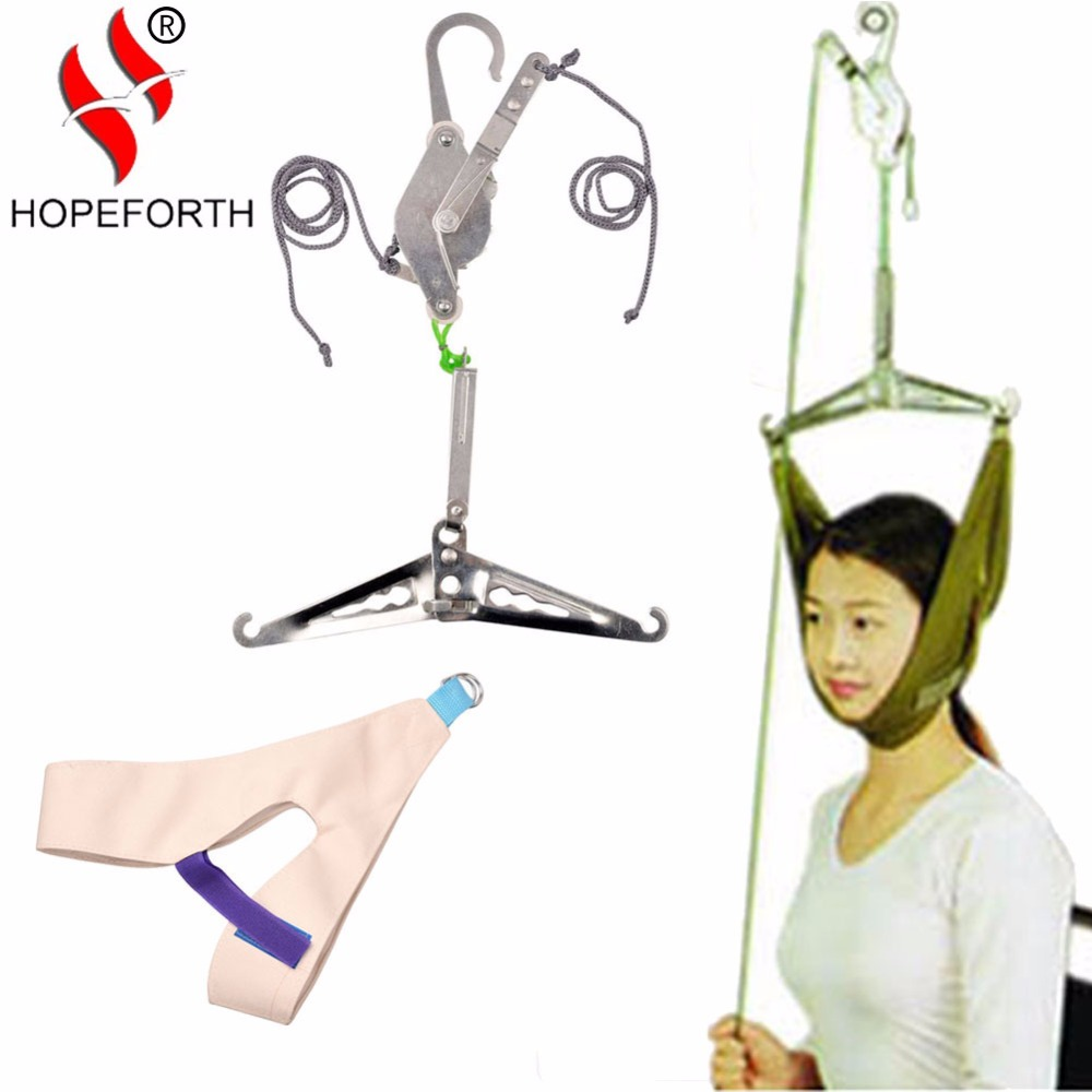Hopeforth Cervical Traction Over Door Neck Massager Device Kit Neck Back Stretcher Stretching Chiropractic Head Relaxation