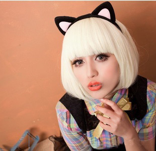 white cosplay short wig for women Blonde Short Wig Womens Costume Accessory Lady Gaga Style Pageboy short lady gaga cosplay wig(China (Mainland))