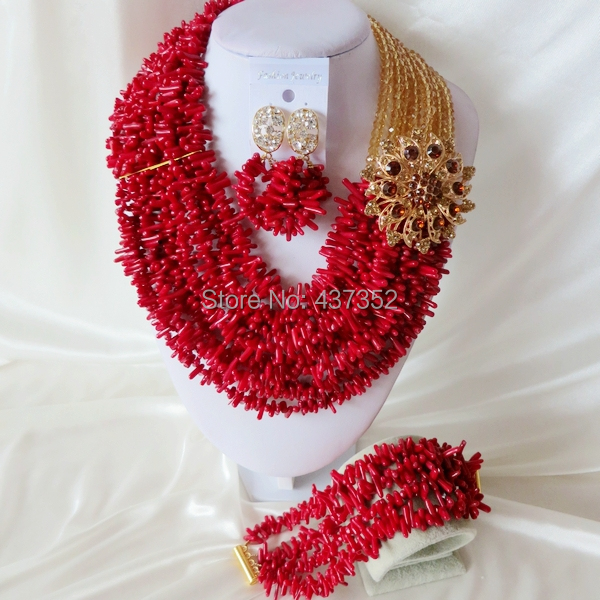 Handmade Nigerian African Wedding Beads Jewelry Set , Champagne Gold Crystal Coral Beads Necklace Bracelet Earrings Set CWS-412