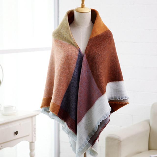 Большой кашемировый шарф женщин мода дизайнер шарф люксовый бренд зима площадь шотландка ...