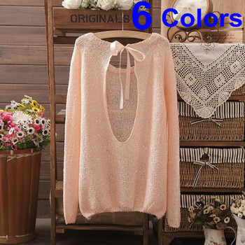 6 Colors New Brand Women Knitted Fashion Bowknot Sweater Cotton Winter Female Pullover Brand  Hot Selling