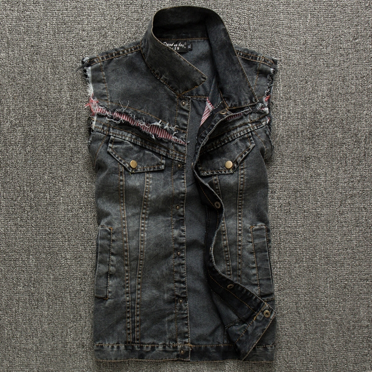 Free Shipping 2015 Summer and Spring new Mens Denim Vest cotton stretch Black Jean vest Men Casual colete masculino(China (Mainland))