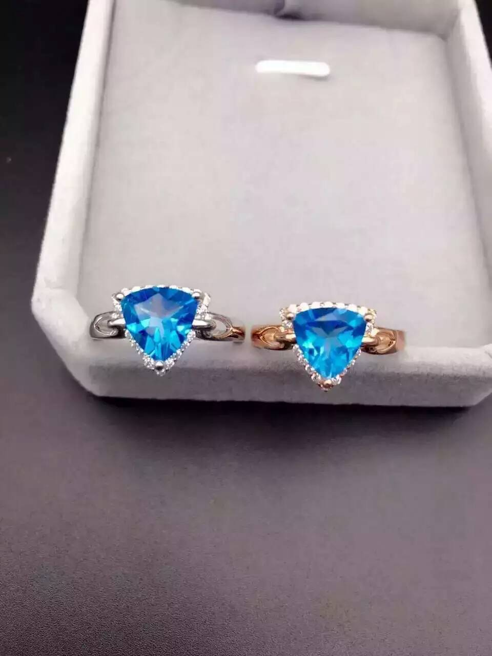 Fashion elegant simple Triangle natural blue topaz rings S925 silver natural gem stone ring for women party ring jewelry<br><br>Aliexpress