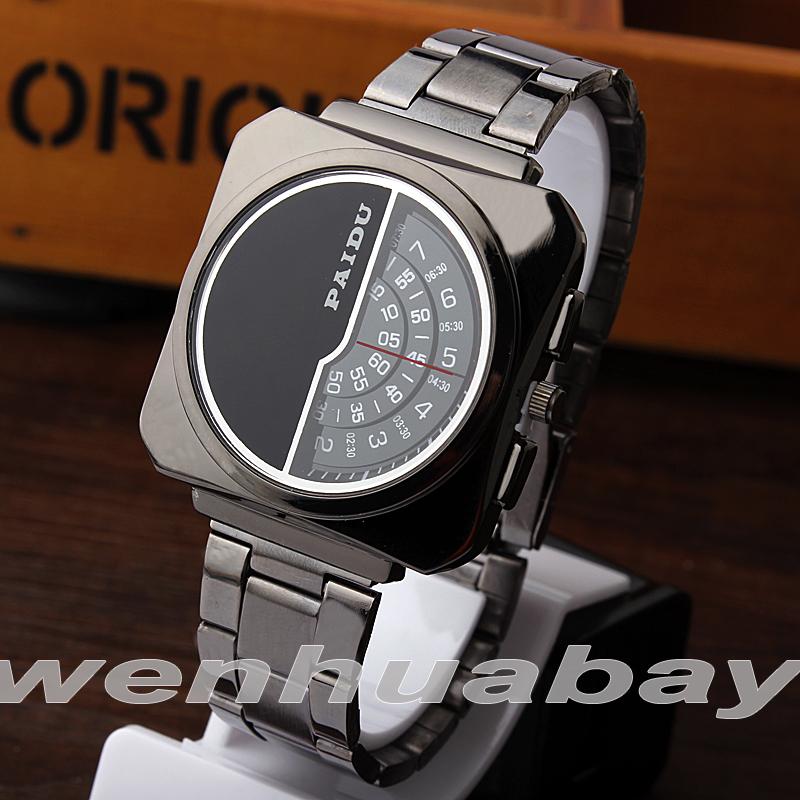 PAIDU Unique Black Stainless Steel Band Wrist Watch Mens Boy Turntable Dial Digital Tonneau Secially Gift Quartz Wristwatches(China (Mainland))
