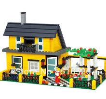 Wange Villa House Garden 32051 Building Block Sets 449pcs Educational Jigsaw DIY Construction Bricks Toys For Children(China (Mainland))