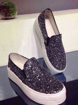 2015 new flash chip heavy-bottomed leather casual shoes round sequins with flat bottom shoes muffin shoes(China (Mainland))