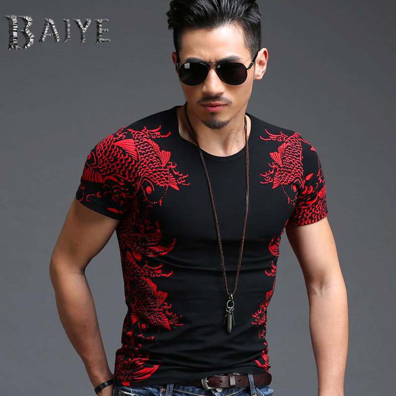 2015 new fashion men casual t shirt men short sleeve t for High end men s shirts