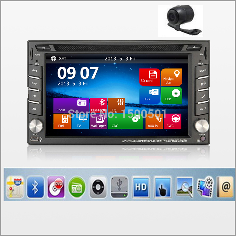 New universal Car Radio Double 2 Din Car DVD Player GPS Navigation In dash Car PC Stereo Head Unit video+Free Map Cam subwoofer(China (Mainland))