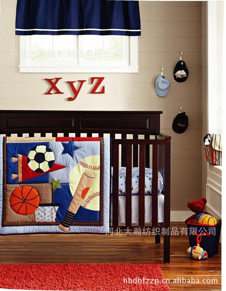 Printing embroidery Basketball football baseball pattern baby bedding set Quilt Bumper Mattress Cover 6Pcs crib bedding set(China (Mainland))