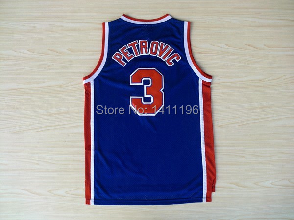 New Arrival Brooklyn Drazen Petrovic #3 Jersey Retro Blue Basketball Jersey(China (Mainland))