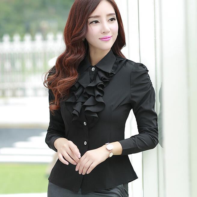 весной Корейский с длинными рукавами блузки