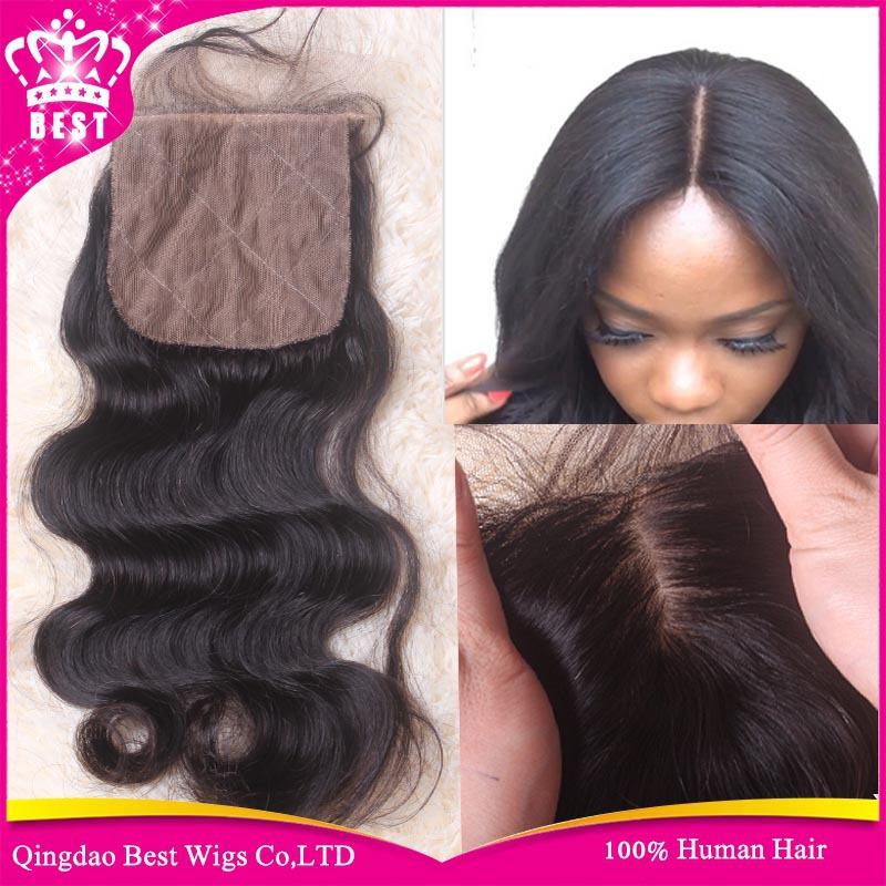 middle 3 free part silk base closure body wave virgin brazilian hair silk closure hidden knots 4x4 silk top lace closure stock<br><br>Aliexpress