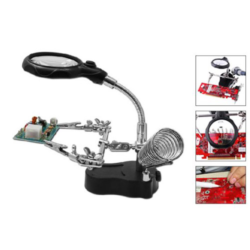 1pc Helping Hand Clip LED Magnifying Soldering Iron Stand Len Magnifier HW020